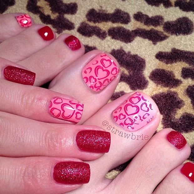 Schön Pink And Red Valentines Day Pedicure