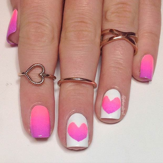Bright Ombre Heart Manicure for Valentines Day