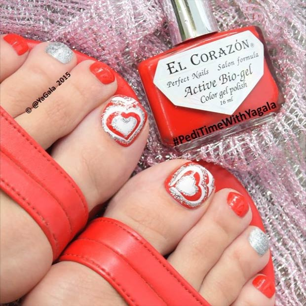 Heart Toe Design for Valentines Day