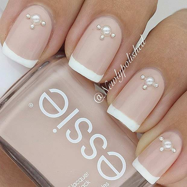 Nude French Tip Wedding Nail Design