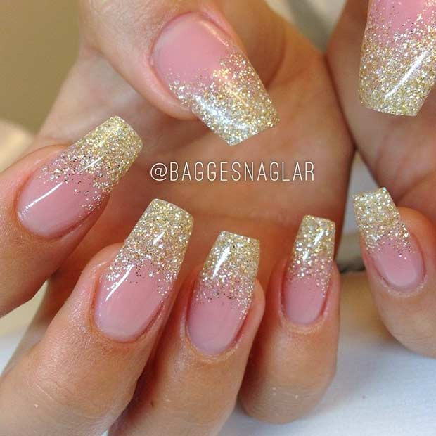 Gold Glitter Ombre Coffin Nail Design