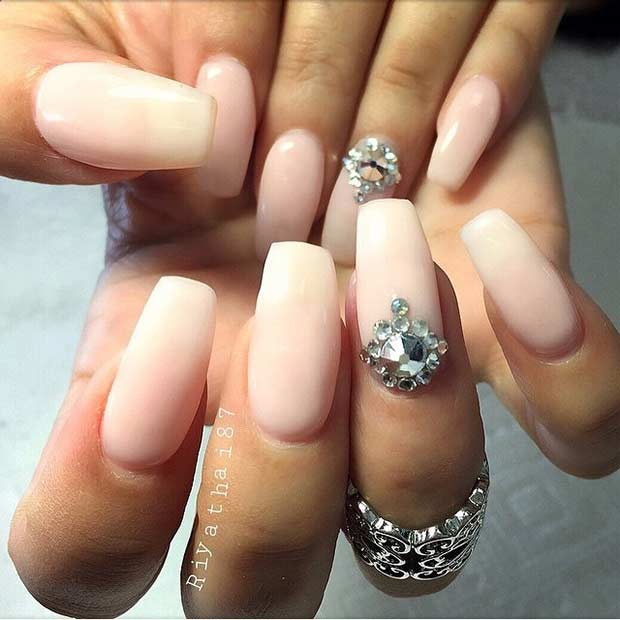Elegant Wedding Nail Design for Long Nails