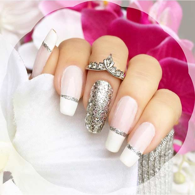 Long White and Silver Glitter French Tip Nails