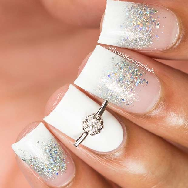 Wedding White Nail Design with Silver Glitter
