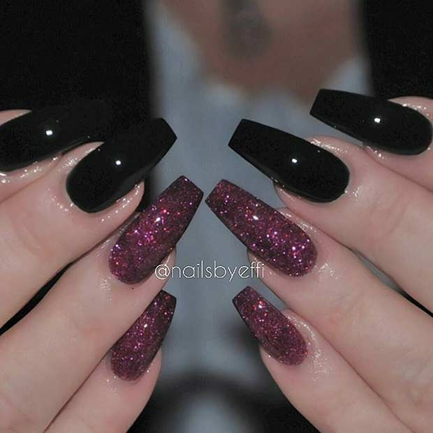 Black and Red Glitter Coffin Nail Design - 31 Trendy Nail Art Ideas For Coffin Nails Page 2 Of 3 StayGlam