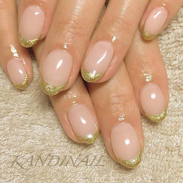 Golden French Tips For Almond Shaped Nails