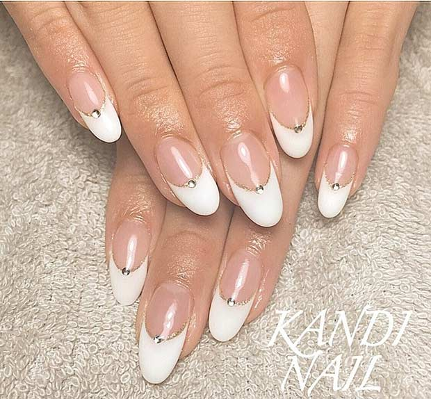 French Tip Wedding Nails with a Pop of Gold