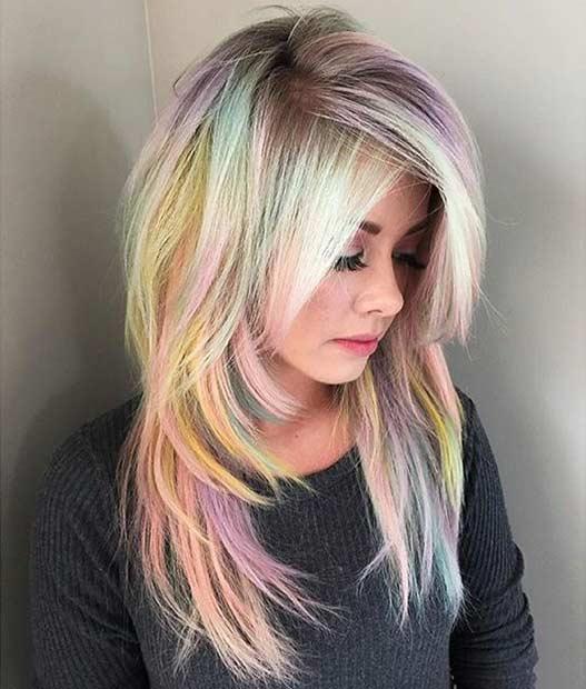 Soft Pastel Rainbow Hair