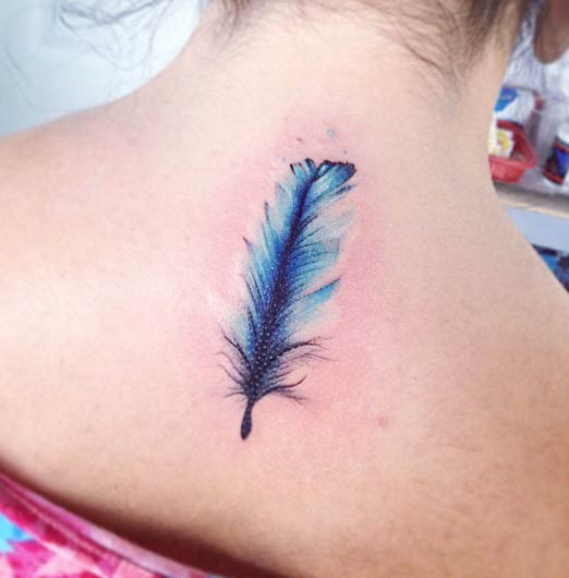 Watercolor Feather Tattoo on Back