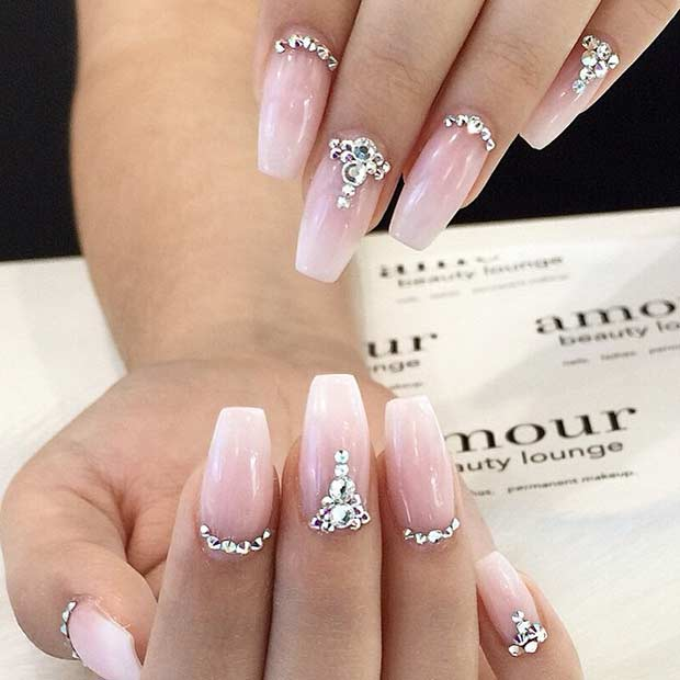 Sparkly Rhinestone Wedding Nails