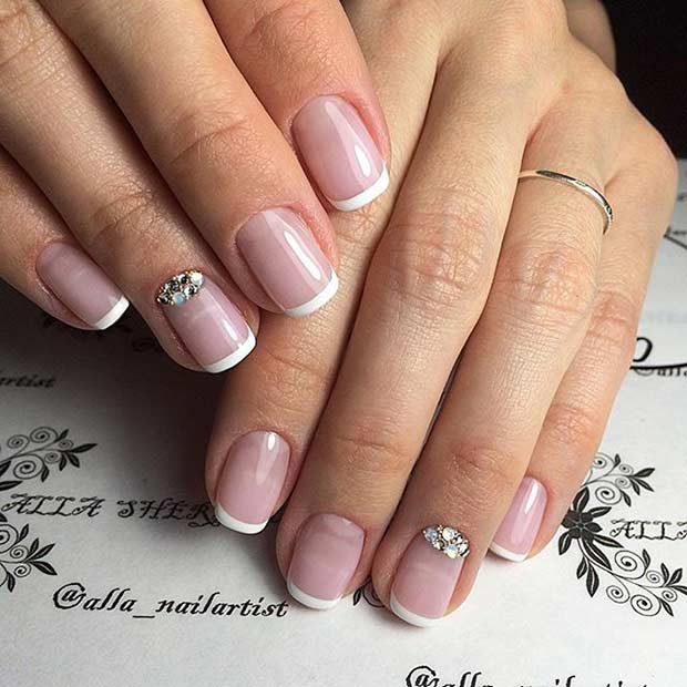 Wedding French Tip Mani with an Accent Nail