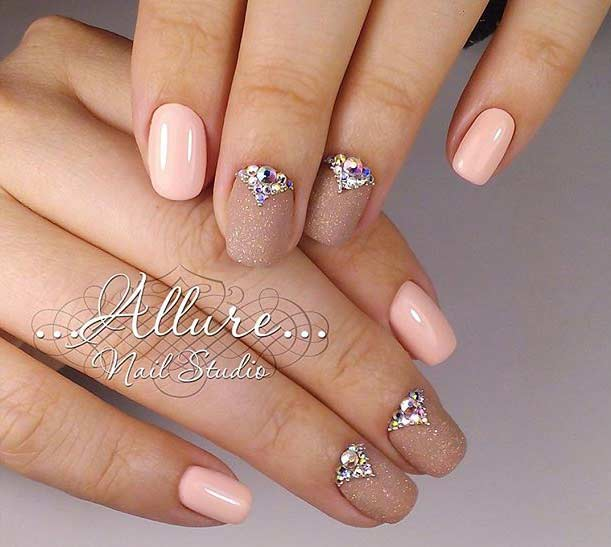 Peach And Golden Wedding Nail Design