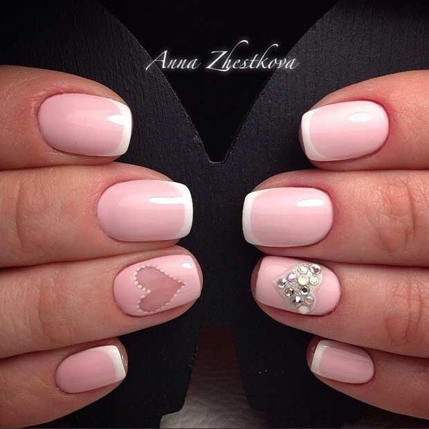 Pink Heart Wedding Nails