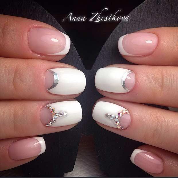 white wedding nail art design
