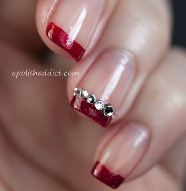 Red Glittery French Tip Nail Design - 31 Cool French Tip Nail Designs StayGlam