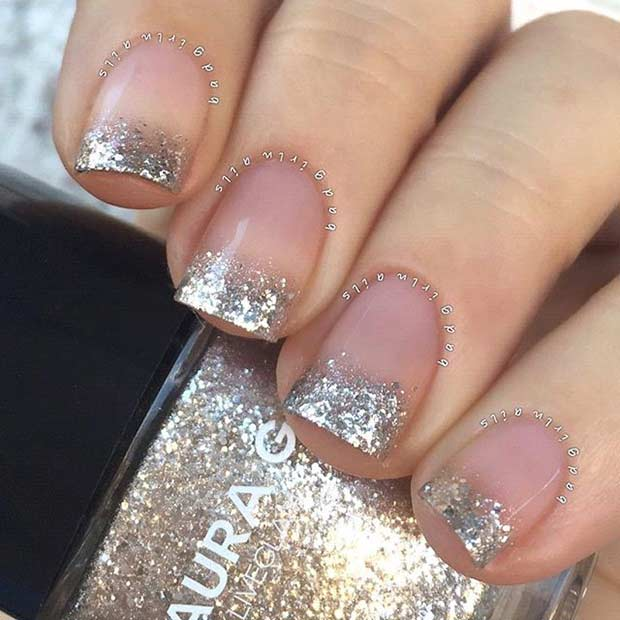 Gold Glitter French Tips - 31 Cool French Tip Nail Designs StayGlam
