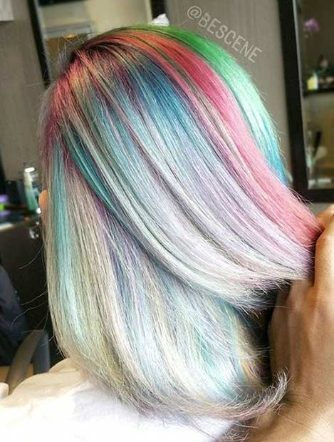Rainbow Pastel Hair Color Idea