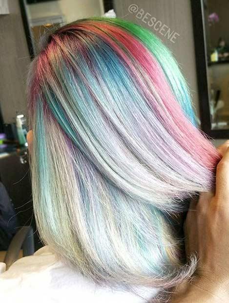 Rainbow Pastel Hair Color Idea