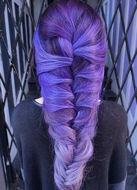 Dark Purple to Pastel Purple Hair Color