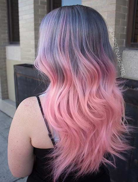 Grey to Pastel Pink Ombre