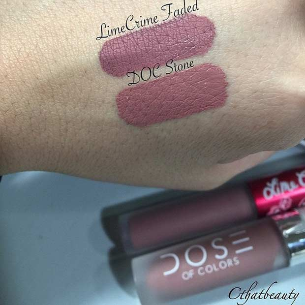 Lime Crime Faded Lipstick Dupe