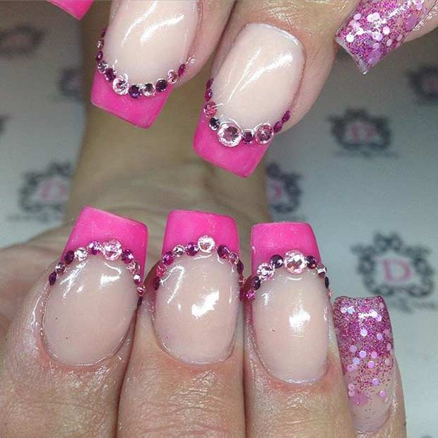 Pink French Tips with Rhinestones