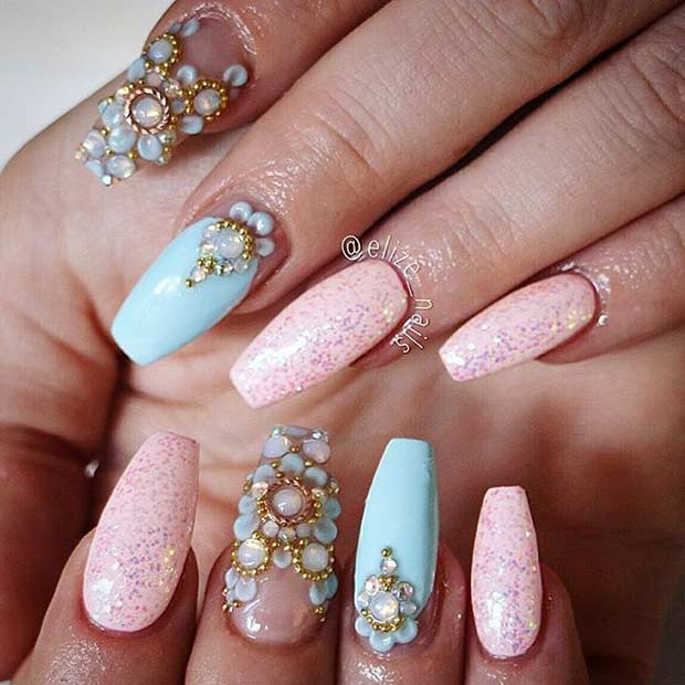 Pastel Coffin Nail Art Design