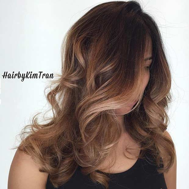 Honey Blonde Balayage Highlights for Brunettes