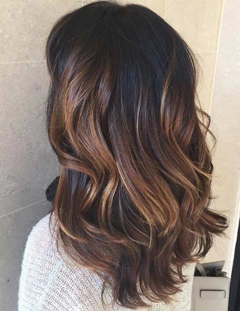 Light Chocolate Brown Balayage Highlights for Dark Hair