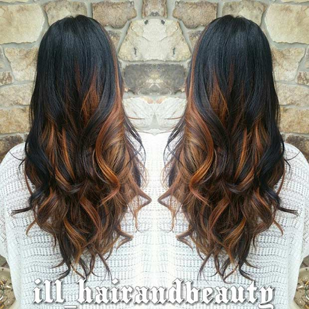 Long Chocolate Hair Color With Dark Caramel Highlights