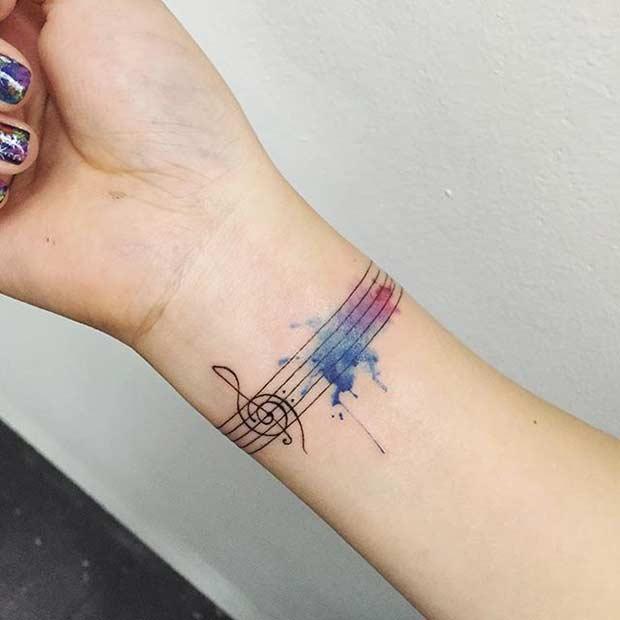 Watercolor Music Wrist Tattoo