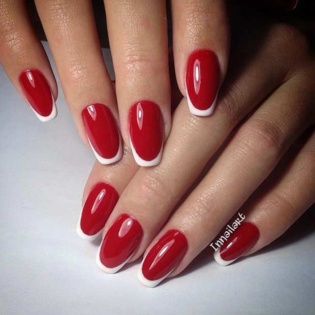 Red and White French Tip Nails - 31 Cool French Tip Nail Designs Page 3 Of 3 StayGlam