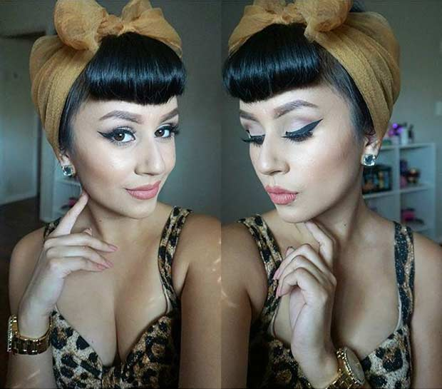 21 pin up hairstyles that are hot right now stayglam pin up updo with a scarf solutioingenieria Image collections
