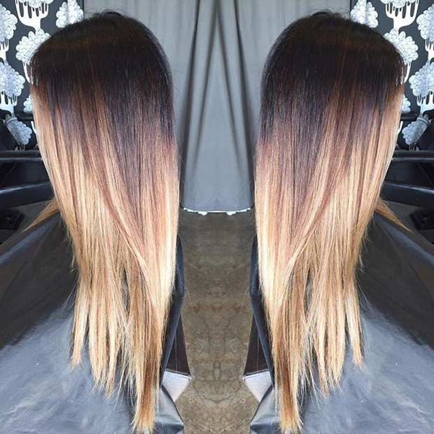 Ombre dark brown to blonde