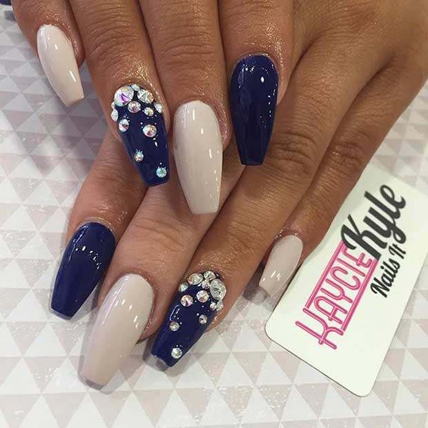 Nude and Navy Blue Coffin Nails - 31 Trendy Nail Art Ideas For Coffin Nails Page 2 Of 3 StayGlam
