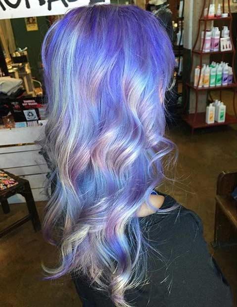 21 pastel hair color ideas for 2016 stayglam pastel purple hair with silver holographic highlights pmusecretfo Images