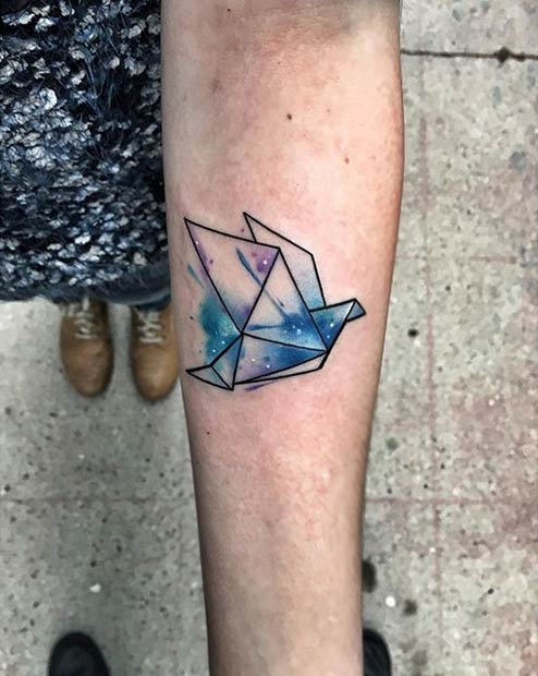 Origami Watercolor Tattoo