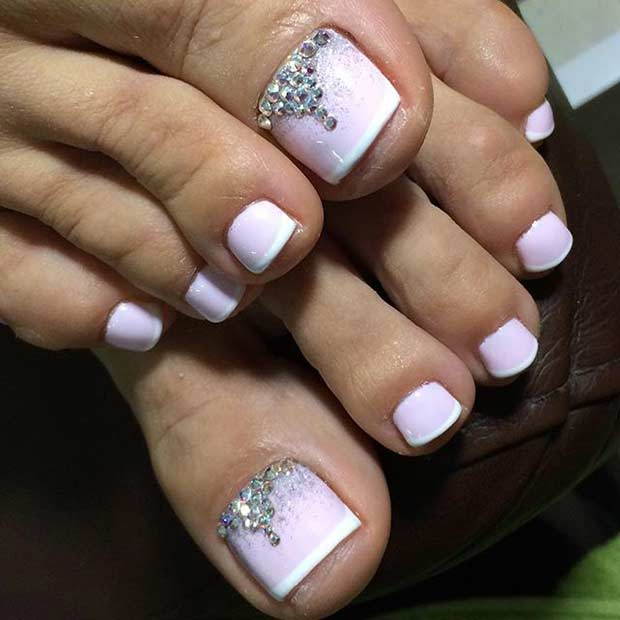 Wedding Toe Nail Design for Brides