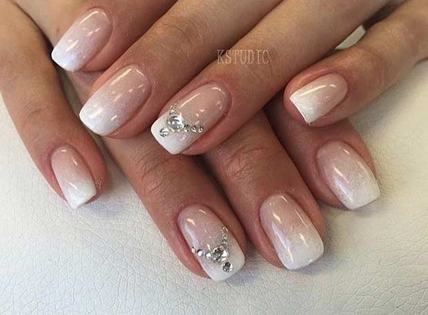 Ombre Wedding Nail Design