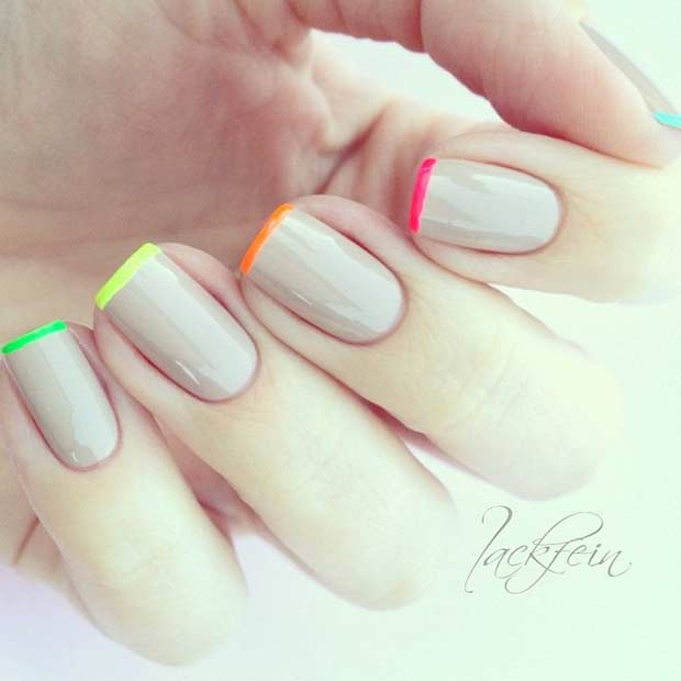 Neon Colored French Tips