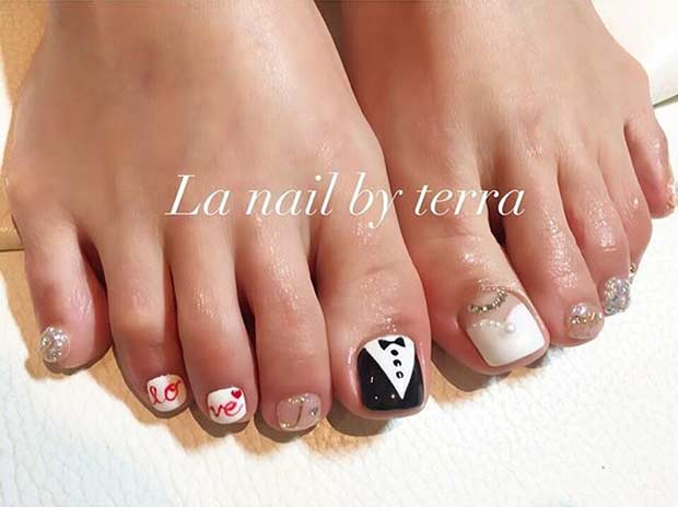 Bride and Groom Toe Nail Design for a Wedding