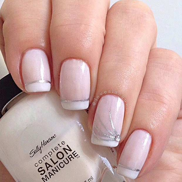31 cool french tip nail designs stayglam white french tip nail design prinsesfo Choice Image