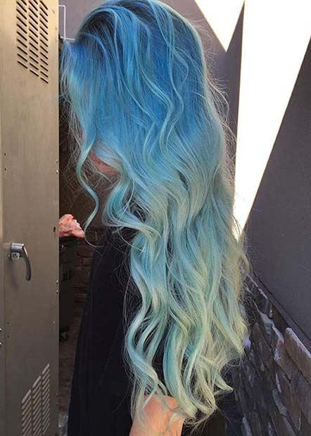 Pastel Blue Ombre Hair Color Idea for Long Hair