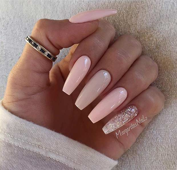 Long Pink And Neutral Coffin Nails