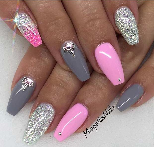 Pink and Gray Coffin Nail Design - 31 Trendy Nail Art Ideas For Coffin Nails Page 3 Of 3 StayGlam