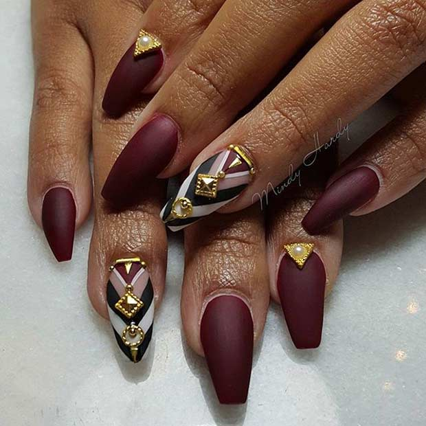 31 trendy nail art ideas for coffin nails page 3 of 3 stayglam matte burgundy coffin nail design prinsesfo Choice Image