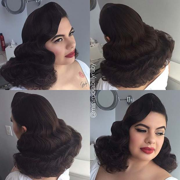 Retro Pin Up Bridal Hairstyle