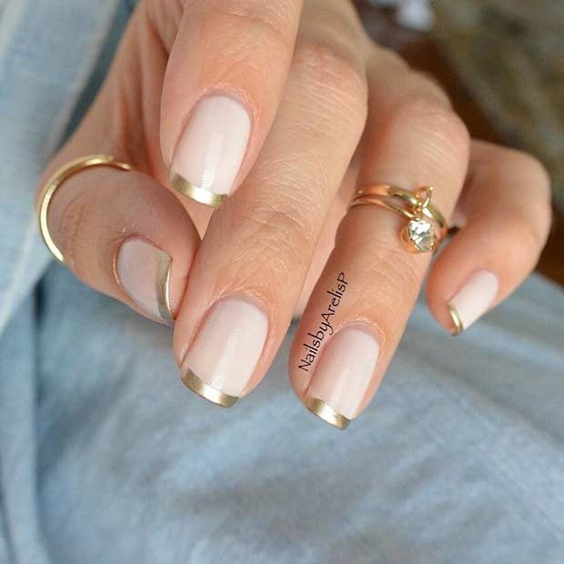 Nude Nails with Gold French Tips
