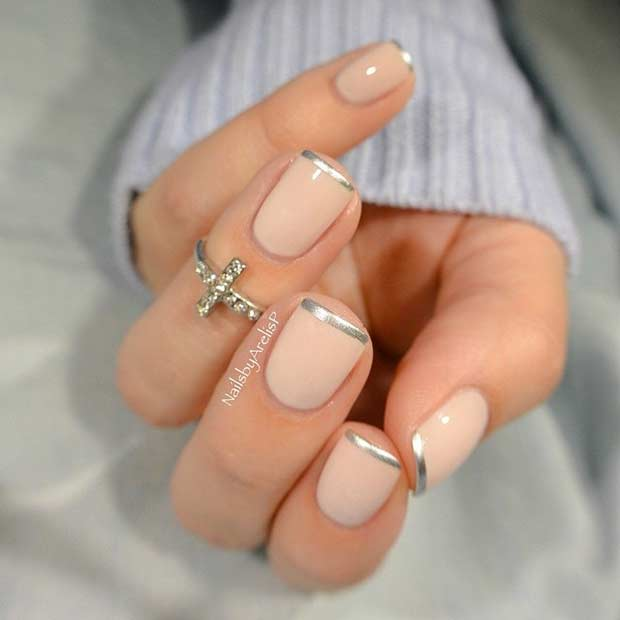 31 cool french tip nail designs stayglam thin silver french tip manicure prinsesfo Gallery