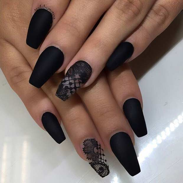 Black Matte Lace Coffin Nail Design - 31 Trendy Nail Art Ideas For Coffin Nails StayGlam
